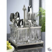 Metal And Glass Flatware Caddy. Godinger Silver Art. Shipping Included
