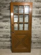 Antique Farmhouse Exterior Wood Entry Stained Door /w Cross Buck And 9 Glass 32x80