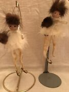 2 Vintage Chenille Pipe Cleaner Skaters W/ Spun Glass Wings Christmas Ornaments