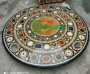 42 Black Marble Table Top Coffee Dining Inlay Lapis Mosaic Handmade Antique H1