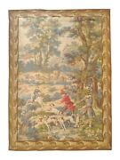 1040 - Vintage Aubusson Style Tapestry Hunting Drawing, France