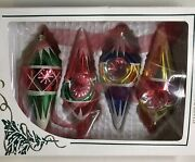 4 Vintage Rausch Glass Teardrop Christmas Ornaments Red Blue Green Yellow