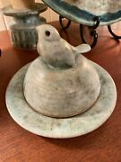 Peters Pottery, Ms, Mccarty Protege, Old Jade Covered Butter/cheese Dish Rare