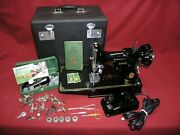 1949 Singer 221 Featherweight Sewing Machine W/case/pedal/attachments/manual