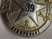 Texas Alcohol Police Badge Lieutenant Officer Full Size Silver Metal 80-90's