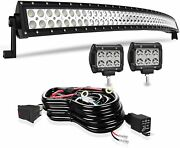 52and039and039 Curved Led Light Bar Combo 2x 4and039and039 Work Lights For Jeep Ford Dodge Suv Truck
