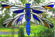 Cobalt Blue And Amber Crystal Dragonfly Huge Hand Crafted Stained Glass Suncatcher