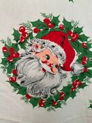Vintage Christmas Fabric Santa Face Holly Red White Green 2.5 Yards Cotton