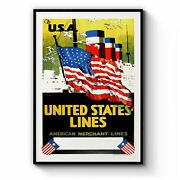 United States Lines Vintage Shipping Wall Art Print, Canvas Or Framed