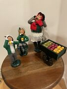 Carolers Byers Choice Fruit Vendor With Cart, Boy And Girl With Fruit