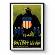 Us Navy Enlist Now Vintage Advert Wall Art Print, Canvas Or Framed