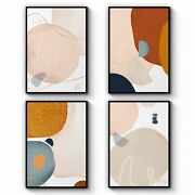 Complete Set Of 4 Abstract Shape Minimal Nude Colour Wall Art