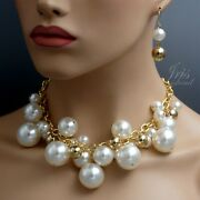 White And Gold Pearl Cluster Bib Statement Necklace Earrings Jewelry Set 20092