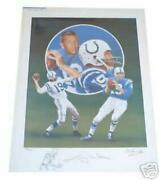 Johnny Unitas Autographed Colts Lithograph By Christopher Paluso Artist Proof