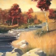 36wx36h Luminous By John Somers - Trees And Running Water Creek Canvas