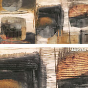 48wx24h Perpetual Motion By Graham Ritts - Ridged Patches Earth-toned Canvas