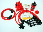 Vms 93-01 Honda Prelude H22 Msd Coil Wires Ngk Plugs Red Distributor Cap Kit