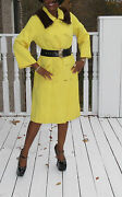 Mint Couture Vintage Yellow Brocade And Mink Fur Full Length Trench Coat S-m 4-12