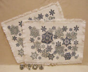 Snowflake Fabric Placemats And Napkin Rings Santa Tree Wreath And Nutcracker Lot 6
