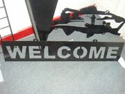 Large Mouth Bass Boat Fishing Steel Welcome Sign