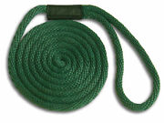 5/8 X 20and039 Solid Braid Nylon Dock Lines - Forest Green - Made In Usa