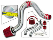 Cold Air Induction Intake Kit + Red Dry Filter For 94-01 Integra Gsr Dc2 Dc 1.8