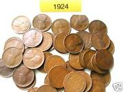 1924-p Lincoln Wheat Cent Roll, 50 Nice Coins