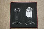 Pair Of Orrefors Signed Crystal Globe Candlesticks New In Box
