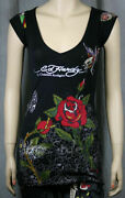 Ed Hardy Butterfly Tiger Black V-neck Sweater Shirt Nwt