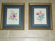 Sandy Lynam Clough Floral Botanicals In Gold Frames - Circa - 1988