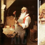 24wx28h Santaand039s Workshop By Norman Rockwell - Jolly Nick Claus Christmas Canvas