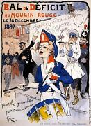 Bal Deficit Show 1897 Drum Player French Vintage Poster Repro Free S/h