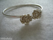 And Co. Sterling Silver Twin Roses Bangle Rare