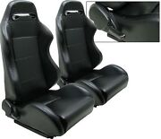 New 2 X Black Leather Racing Seats Reclinable W/ Slider For Chevrolet