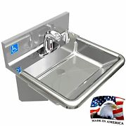 Ada Hand Sink Made In Usa Stainless Steel 304 No Lead Electronic Sloan Faucet