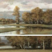 36x24 Winding River Ii By T.c. Chiu Scenic View Of Water And Landscape Canvas