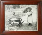 Wooden Wagon, Express, With Little Girl, 1886, Framed, Vintage Print