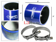 Blue 3 76mm 3-ply Silicone Coupler Hose Turbo Intake Intercooler + Clamps Sb Sc