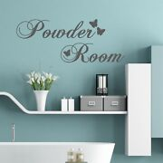 Powder Room With Butterflies Wall Words Quote Stickers Decals Bathroom
