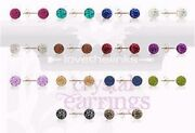 Quality Crystal Stud 6mm Ball Earrings With Sterling Silver...lots Of Colours