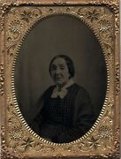 Older Lady Short Hair Checkered Dress W/ Lace Collar Broach/pin Tintype