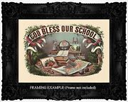 God Bless Our School Currier And Ives Roses Globe Books Map Antique Art Print