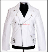 Outlaw Menand039s Bikers Cowhide Leather Jacket White Hide Washed Motorcycle Jacket