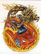 Flaming Golden Dragon Red Race Car Rare Discontinued Vinyl Sticker/decal By Odm