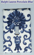 Light Switch Plate And Outlet Covers Scrolls Porcelain Blue Color