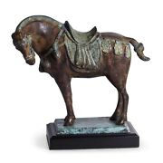 Figurines - Tang Horse Sculpture On Wooden Stand - Asian Art