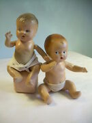 2 Sweet Antique Composition Doll Baby Set Dime Store Carnival Diaper Babies Toys