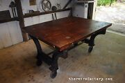 Huge Industrial Table W/cast Iron Machine Legs And Reclaimed Antique Top