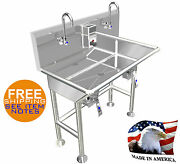 Hand Sink 36 2 Users 4 Braced Legs Hands Free Basin Stainless Steel Made In Usa