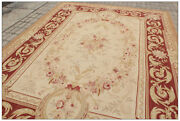 Free Ship Aubusson Castle French Area Rug Rust Antique Red Pink Wool Carpet New